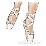 Розовые ботинки балерины Ботинки pointe балета с лентой Стоковые Фотографии RF