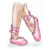 Розовые ботинки балерины Ботинки pointe балета с лентой Стоковые Фото