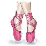 Розовые ботинки балерины Ботинки pointe балета с лентой Стоковые Изображения