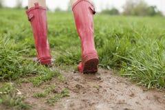 Розовые ботинки дождей Стоковое Изображение