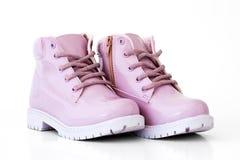 Розовые ботинки изолированные на белой предпосылке Стоковое фото RF