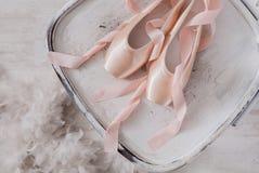 Розовые ботинки и перо pointe балета на белой деревянной предпосылке Стоковое Изображение RF