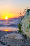 Розовые букет и кольца на заходе солнца Стоковые Изображения RF