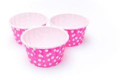 Розовые бумажные стаканчики точки польки Стоковая Фотография