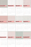 Розовые бутон и стог покрасили геометрический календарь 2016 картин Стоковые Изображения