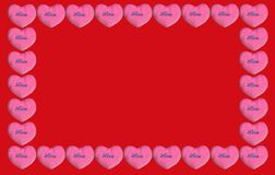 Розовые валентинки сердца на красной предпосылке стоковая фотография