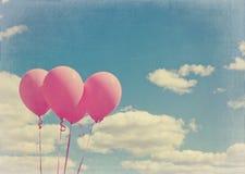 Розовые воздушные шары с винтажный редактировать Стоковая Фотография RF