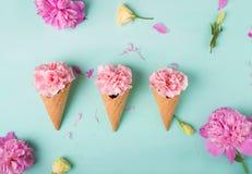 Розовые гвоздики Цветы peonies Розовые пионы на зеленой предпосылке Стоковое Изображение