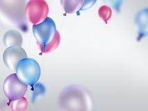 Розовые голубые и фиолетовые воздушные шары Стоковое Изображение