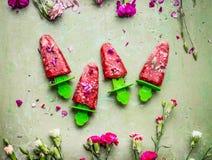 Розовые домодельные плодоовощи и мороженое или popsicles ягод на предпосылке зеленой таблицы teal деревенской, украшенной с садом Стоковые Фото