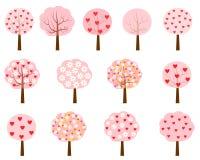 Розовые деревья с сердцами и цветками Бесплатная Иллюстрация