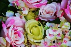 Розовые желтых цветки роз и листьев зеленого цвета, конец вверх Стоковые Изображения RF