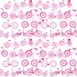 Розовые значки велосипеда безшовные Стоковые Фото
