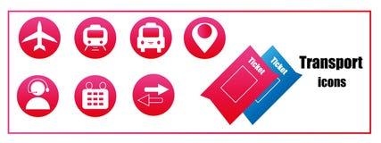 Розовые значки для покупать снабжают онлайн билетами для транспорта Стоковые Изображения