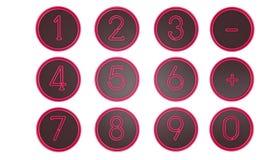 Розовые значки номера Стоковые Фото
