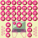 Розовые значки офиса Стоковое Изображение