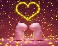 Розовые игрушки дракона в влюбленности иллюстрация штока