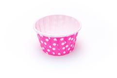 Розовые изолированные бумажные стаканчики точки польки Стоковые Фотографии RF