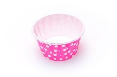Розовые изолированные бумажные стаканчики точки польки Стоковая Фотография