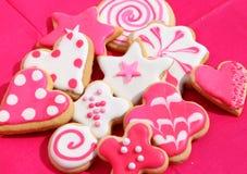 Розовые и белые печенья Стоковая Фотография RF