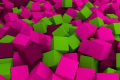 Розовые и зеленые кубы Стоковое Изображение RF