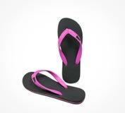 Розовые и черные изолированные сандалии темпового сальто сальто Стоковая Фотография