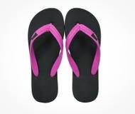 Розовые и черные изолированные сандалии темпового сальто сальто Стоковое Изображение RF