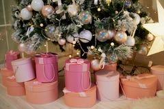 Розовые коробки с подарками под искусственным бледным ым-зелен деревом Уютная домашняя атмосфера фестиваля стоковое изображение