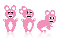 розовые кролики 3 Стоковые Изображения