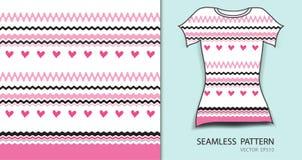 Розовые линии и картина сердца безшовная vector иллюстрация, дизайн футболки, текстура ткани, сделанная по образцу одежда иллюстрация штока