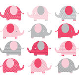 Розовые милые собрания слона Стоковое Изображение RF