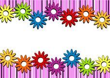 Розовые нашивки и граница цветков горизонтальная Стоковое Изображение RF