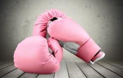 Розовые перчатки бокса на запачканной предпосылке Стоковая Фотография