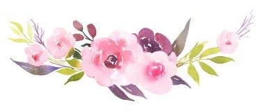 Розовые розы в букете акварели цветеня Стоковое Изображение