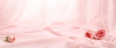 Розовые розы на мягком шелке стоковые фотографии rf