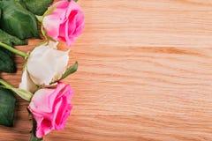 Розовые розы на серой деревянной предпосылке Стоковое Изображение