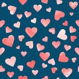 Розовые сердца акварели на голубой предпосылке покрасьте вектор возможных вариантов картины различный Стоковые Изображения