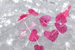 Розовые сердца, который замерли в льде Стоковые Фотографии RF