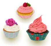 Розовые торты сливк Стоковое Фото