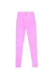 Розовые тощие высокие брюки джинсов талии, изолированные на белой предпосылке Стоковое фото RF