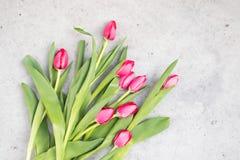 Розовые тюльпаны на мраморной предпосылке Стоковые Изображения