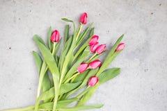 Розовые тюльпаны на мраморной предпосылке Стоковое Изображение