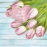 Розовые тюльпаны и карточка 10 eps Стоковые Изображения