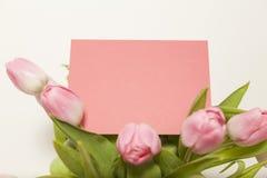 Розовые тюльпаны и поздравительная открытка Стоковые Изображения RF