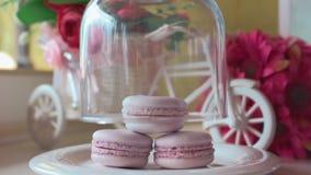 Розовые французские macarons под стеклом на деревянных досках, мягкой предпосылкой фокуса Сладкая пустыня в кафе сток-видео