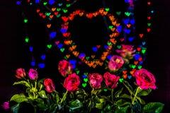 Розовые цветки в предпосылке сердца Стоковое Изображение RF