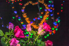 Розовые цветки в предпосылке сердца Стоковая Фотография