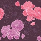 Розовые цветки на темной фиолетовой предпосылке Бесплатная Иллюстрация