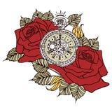 Розовые часы ретро Стоковые Фото