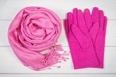 Розовые шаль и перчатки на женщина на досках, одежда на осень или зима Стоковые Фотографии RF